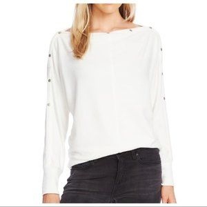 Vince Camuto Snap Trim Dolman Sleeve Sweater Small